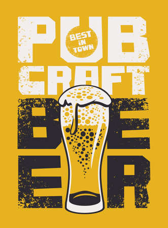 Banner in a grunge style with inscriptions and overflowing glass of frothy beer on a yellow background. Vector illustration for a pub with the best craft beer in town 向量圖像