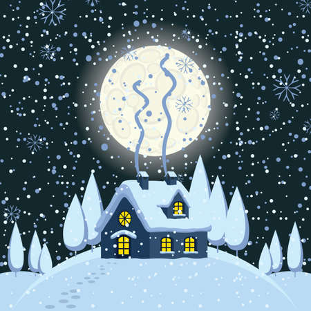 Night winter landscape or banner with village house on the snow-covered hill and footprints in the snow. Vector winter illustration in cartoon style. Cute cozy gingerbread house