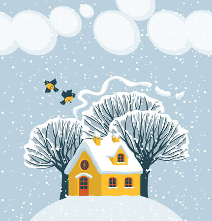 Winter landscape with red inscription Happy Winter, with snowy trees, birds and cute house on snow-covered hill. Decorative vector illustration in cartoon style