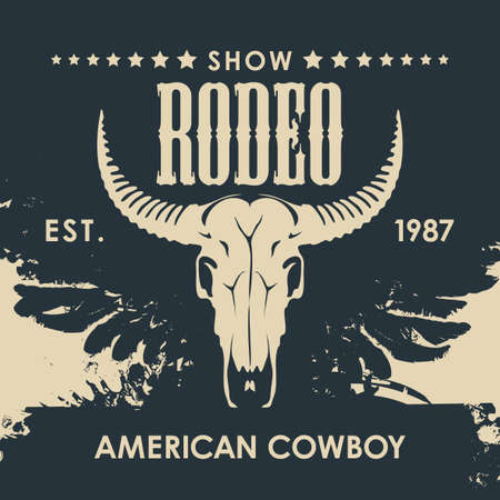 Banner for a Cowboy Rodeo show in retro style. Vector illustration with a skull of bull and lettering on an abstract background with black wings. Suitable for poster, label, flyer, banner, invitation