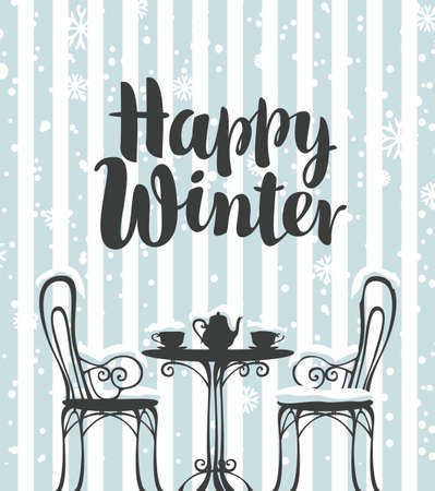 Decorative banner with the inscription Happy winter and an outdoor cafe on a striped gray-white background. Vector illustration of a snow-covered street cafe with hot tea for two on the table