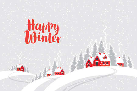 Snowy winter landscape with village houses and fir trees on the snow-covered hills. Decorative vector illustration in cartoon style with red inscription Happy winter