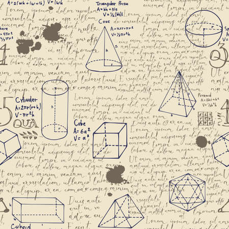 Abstract seamless pattern with handwritten text Lorem ipsum and hand-drawn geometrical figures on the old paper backdrop. Vector repeating background in the style of sketches from the diary Vecteurs