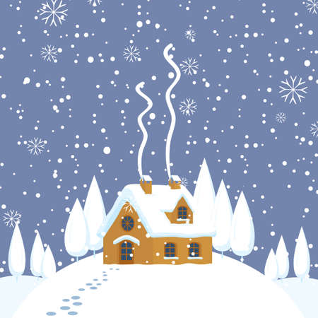 Snowy winter landscape or banner with village house on the snow-covered hill and footprints in the snow. Vector illustration, winter background in cartoon style. Gingerbread house