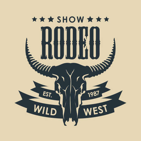 Banner for a Cowboy Rodeo show. Vector illustration with a skull of bull and lettering in retro style.