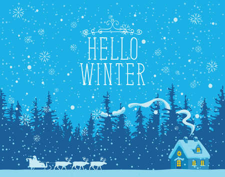 Winter night landscape with Santa Claus in a sleigh, a team of reindeer and a small house in a pine forest. Vector banner with the words Hello winter. Greeting card for Christmas or Happy New year