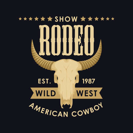 Banner for a Cowboy Rodeo show. Vector illustration with a skull of bull and lettering on the black background in retro style. Suitable for poster, label, flyer, invitation, t-shirt design Stock Illustratie