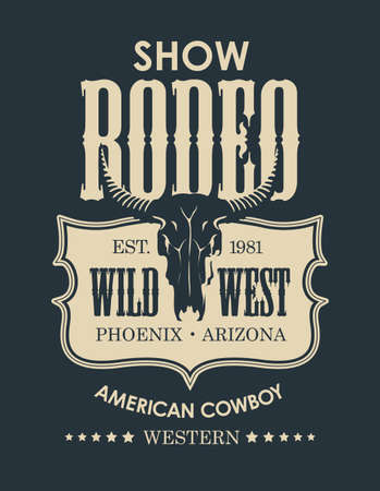 Banner for a Cowboy Rodeo show in retro style. Monochrome vector illustration with a skull of bull and lettering on the black background. Suitable for label, flyer, poster,  t-shirt design Stock Illustratie