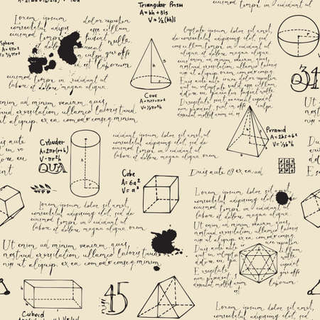 Abstract seamless pattern with handwritten text Lorem ipsum and hand-drawn geometrical figures on an old paper backdrop. Vector repeating background in the style of sketches and notes from the diary