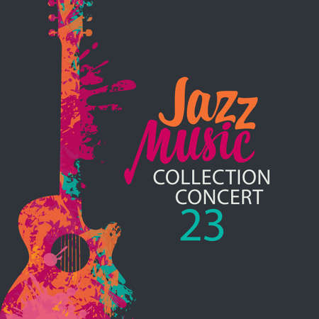Poster for a jazz music concert with a bright abstract guitar and lettering on the black background in retro style. Suitable for vector banner, flyer, invitation, advertisement, cover, ticket Vetores