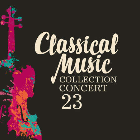 Poster of a classical music concert. Vector poster, flyer, invitation, ticket or advertising banner with an abstract violin in the form of bright paint spots and splashes on the black background