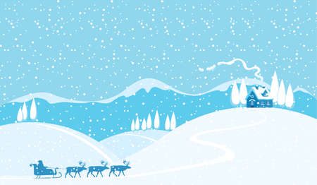 Snowy winter landscape with silhouettes of Santa Claus in sledge and a team of reindeer. Vector background for Merry Christmas or Happy New Year greeting card in cartoon style in blue colors