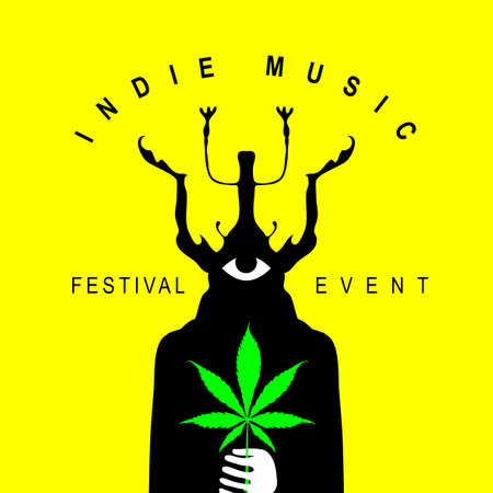 Indie music festival poster with a mysterious creature with a one eye and beetle head holding a cannabis leaf. Creative vector illustration, suitable for banner, flyer, invitation, playbill