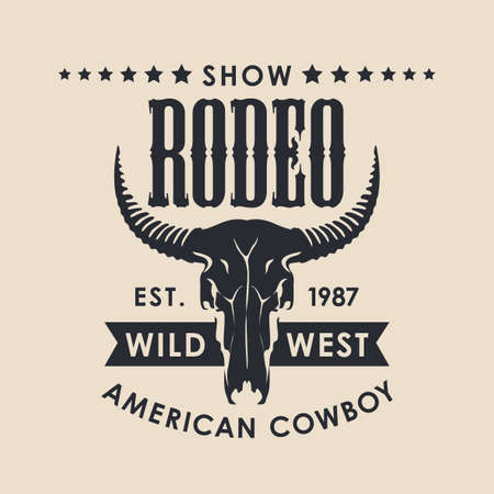 Banner for a Cowboy Rodeo show in retro style. Vector illustration with a black skull of bull and lettering on a beige background. Suitable for poster, label, flyer, icon, logo, emblem, t-shirt design Stock Illustratie