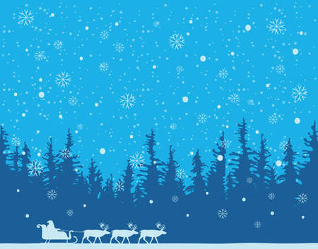 Winter night landscape with silhouettes of Santa Claus in sledge and a team of reindeer in a pine or fir forest. Vector background for Merry Christmas or Happy New Year greeting card in cartoon style