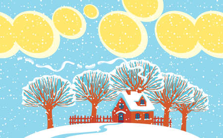 Winter landscape with snowy trees, yellow clouds in the blue sky and cute small brown house on a snow-covered hill. Decorative vector illustration in cartoon style