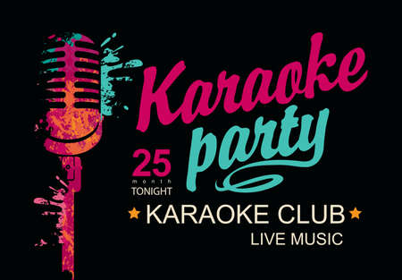 Music poster for karaoke club with a calligraphic inscription Karaoke party and abstract bright microphone on the black background. Vector banner, flyer, invitation or ticket