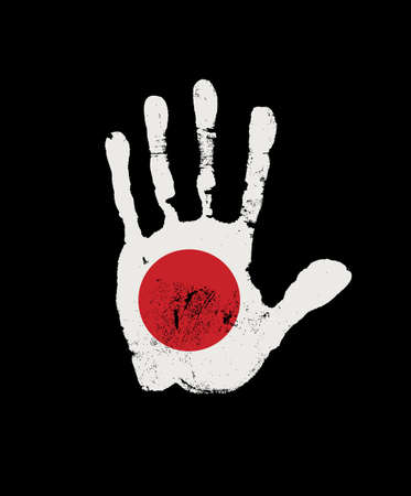 Human palm print in the colors of the Japanese flag. Creative vector design element isolated on the black background. Abstract Japanese flag in the form of a handprint