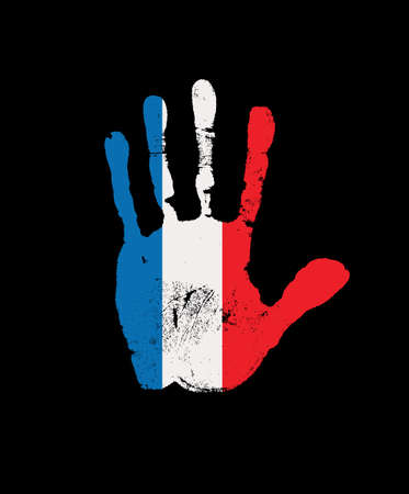 Human handprint in the colors of the French flag. Creative vector design element isolated on a black background. Abstract flag of France in the form of a palm print Ilustración de vector