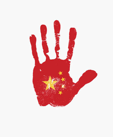 Human handprint in the colors of the Chinese flag. Creative vector design element isolated on a light background. Abstract flag of China in the form of a red palm print with yellow stars