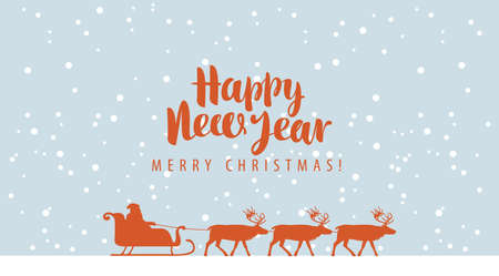 Happy New year and Merry Christmas greeting card or banner. Vector illustration in cartoon style with silhouettes of Santa Claus in sledge and a team of reindeer