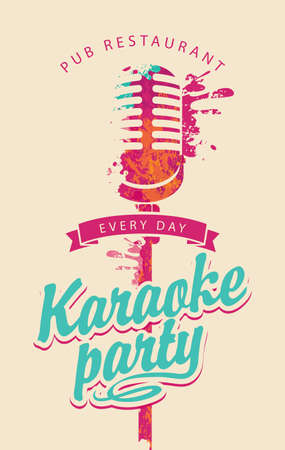 Music poster for karaoke party with an abstract bright microphone and calligraphic inscription on a light background. Vertical vector flyer, invitation, banner or ticket