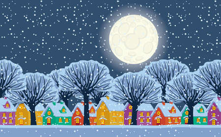 Horizontal seamless pattern. Night winter landscape with cute colored houses, full moon in the sky and snowy trees on a snow-covered street. Repeatable vector illustration in cartoon style