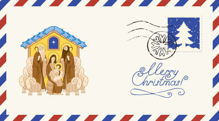 Postal envelope on the Christmas theme with postage stamp and postmark. Bible illustration of Adoration of the Magi in cartoon style. Christmas Nativity scene, Holy family Mary and Jesus Illusztráció