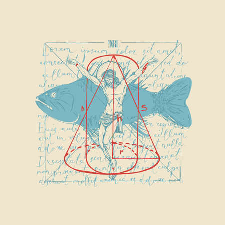 Abstract hand-drawn banner with Jesus Christ, fish and geometric figures on the background of handwritten text lorem ipsum. Religious illustration with a crucifix on old paper in retro style