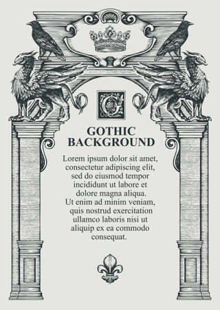 Gothic background or frame for a diploma or certificate in the form of a classical building facade. Vector illustration with hand-drawn ancient arch decorated with statues of griffins and black ravens