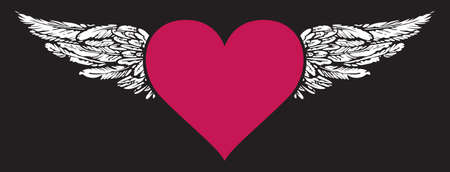 Flying heart. Vector graphic illustration of a red heart with white wings isolated on the black background. Suitable for valentine card, t-shirt design, tattoo, sticker, design element Vector Illustration