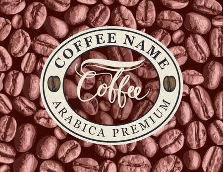 Vector coffee label, banner or sticker with an emblem in oval frame on the background of realistic coffee beans in retro style. Arabica premium coffee