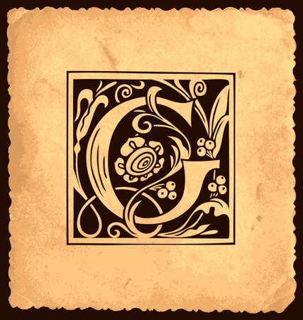 Black initial letter G with Baroque decorations on an old paper background in vintage style. Beautiful filigree capital letter G to use for monogram, emblem, invitation, greeting card
