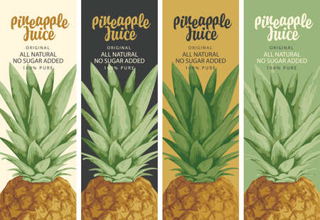 Set of four labels for natural pineapple juice with realistic pineapple and calligraphy inscription. Fresh pineapple juice vector illustrations in retro style