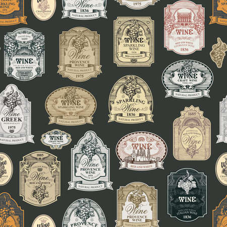 Seamless pattern with ornate hand-drawn wine labels on a dark background in vintage style. Repeating vector background on the theme of wine and wineries. Suitable for Wallpaper, wrapping paper, fabric