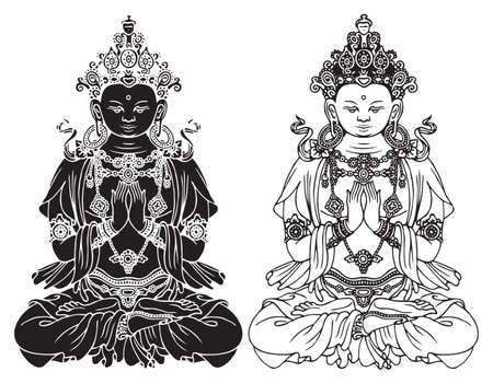 Hand-drawn Buddha Shakyamuni, sage and founder of Buddhism. Two black and white vector illustrations of sitting Gautama Buddha meditating in the lotus position. Awakened and enlightened
