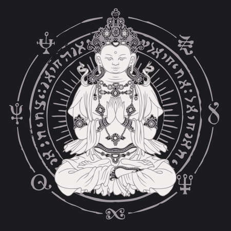 Banner with a seated Buddha meditating in the lotus pose. Vector illustration of hand-drawn Buddha and circle with buddhist signs on the black background. Suitable for greeting card, medallion, amulet