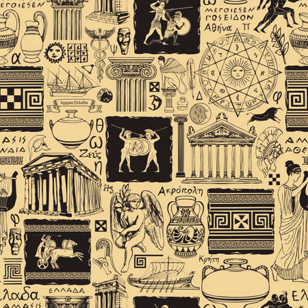 Seamless pattern on the theme of Ancient Greece. Vector repeating background, Wallpaper, wrapping paper or fabric with sketches of architectural monuments and symbols of ancient Greek culture