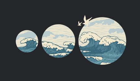 Decorative illustration of hand-drawn sea waves inside circles and flying seagulls on a black background. Vector banner in retro style on the theme of travel, adventure and discovery