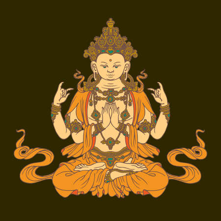 Banner with hand-drawn Buddha Shakyamuni on a dark background. Decorative vector illustration of sitting Gautama Buddha meditating in a lotus position. Buddhist or Hindu god, Awakened and Enlightened Illustration
