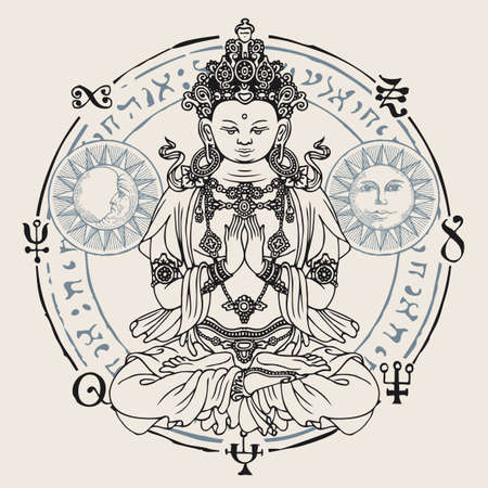 Banner with a seated Buddha meditating in the lotus position. Decorative vector illustration of hand-drawn Buddha, Sun and Moon inside a circle with buddhist symbols. Awakened and enlightened