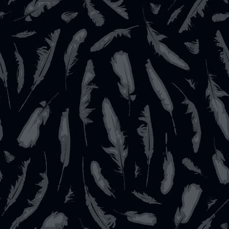 Seamless pattern with gray bird feathers on the black backdrop. Vector repeating background. Suitable for wallpaper, wrapping paper, fabric, textile