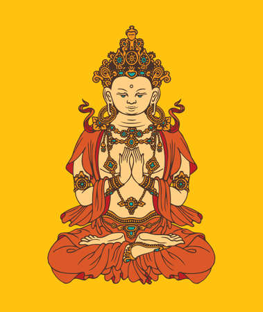 Banner with hand-drawn Buddha Shakyamuni on a yellow background. Decorative vector illustration of sitting Gautama Buddha meditating in the lotus pose. Awakened and Enlightened. Buddhist or Hindu god
