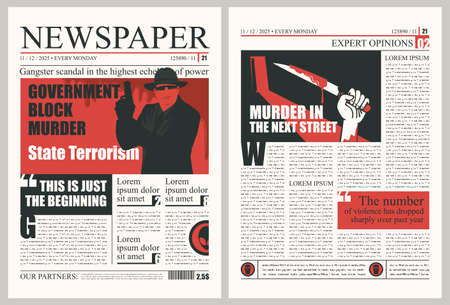 Newspaper page with criminal news. Vector template for newspaper layout with unreadable text, headlines and illustrations on the topic of terrorism, criminal incidents, gang fights and murders