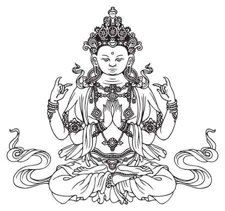 Hand-drawn Buddha Shakyamuni, four-armed Buddhist or Hindu god. Vector illustration of sitting Gautama Buddha meditating in the lotus pose. Awakened and Enlightened. Black drawing on light a backdrop Illustration