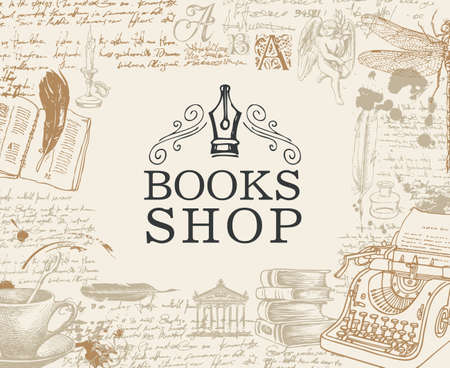 Banner for books shop in retro style. Vector illustration with hand-drawn typewriter, angel, books, cup and handwritten notes with blots. Suitable for poster, flyer, label, bookmark, business card