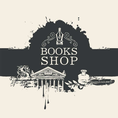 Creative banner for books shop in retro style with drawings and abstract stains. Artistic vector illustration with nib, candle, feather, inkwell, architectural facade, blots and splashes