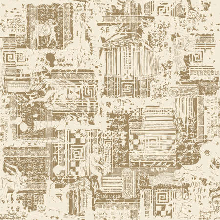 Seamless pattern on the theme of Ancient Greece in grunge style. Abstract vector background with sketches and illegible scribbles imitating Greek text in beige colors. Wallpaper, wrapping paper fabric