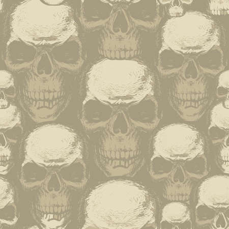 Seamless pattern with human skulls. Vector background with hand-drawn skulls. Graphic print for apparel, fabric, wallpaper, wrapping paper, design element for halloween party  イラスト・ベクター素材