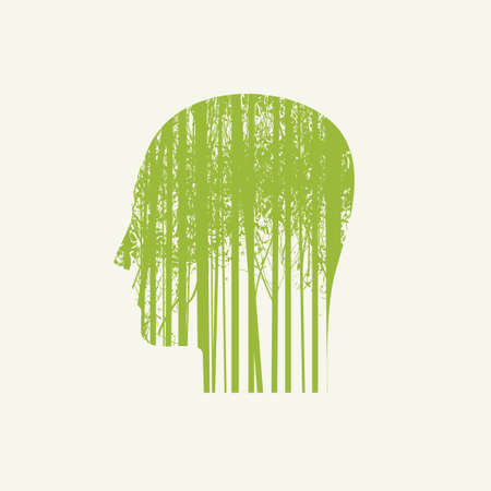 Creative illustration on the theme of environmental protection. Vector poster in the form of human head in profile with green silhouettes of young trees. Eco Poster Concept